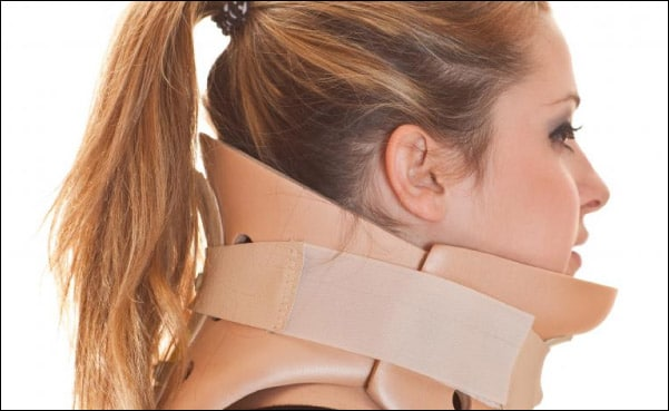 young woman in neck brace