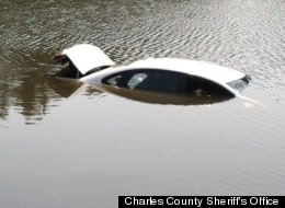 car in lake