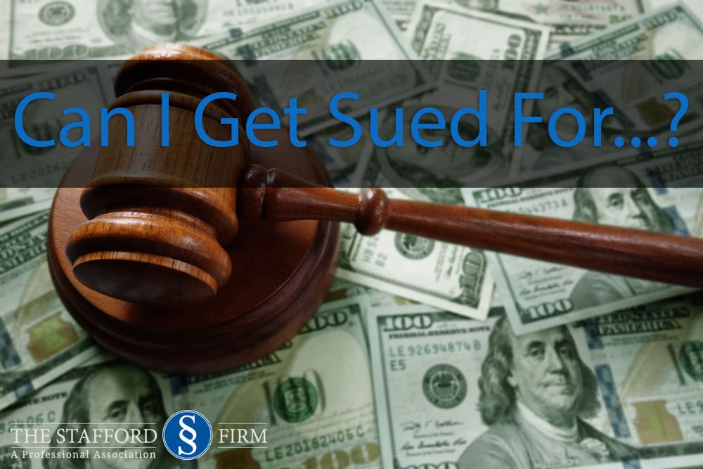 "Background of cash money with judge's gavel in foreground and headline that reads: ""Can I Get Sued For...?"""