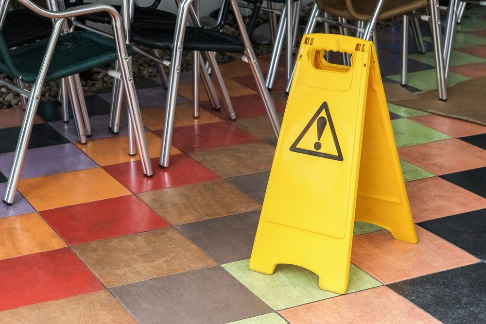 wet floor sign restaurant